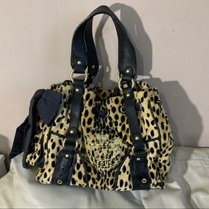 Juicy Couture Black Leopard Print Daydreamer Purse